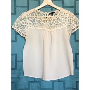 Monteau ivory blouse with lace top